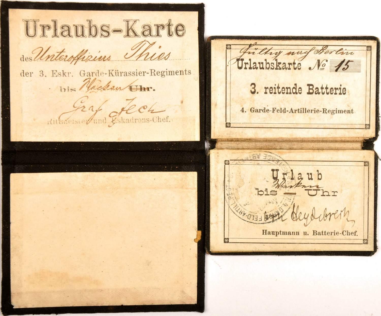 "2 URLAUBSKARTEN, Leinen-Klappkarten, f. e. Uffz. d. 3. Eskadron/Garde-Kürassier-Rgt., OU ""Graf v."