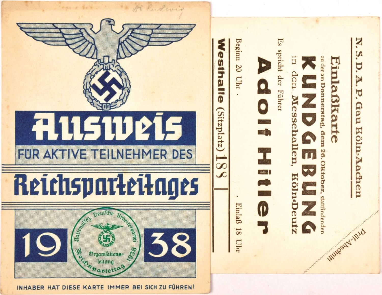 2 EINTRITTSKARTEN, Ausweis f. Aktive Teilnehmer d. Reichsparteitages ...