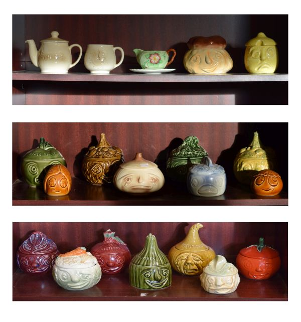 Lot 44 - Group of novelty pottery condiment/food jars modelled as vegetables etc, together with sundry