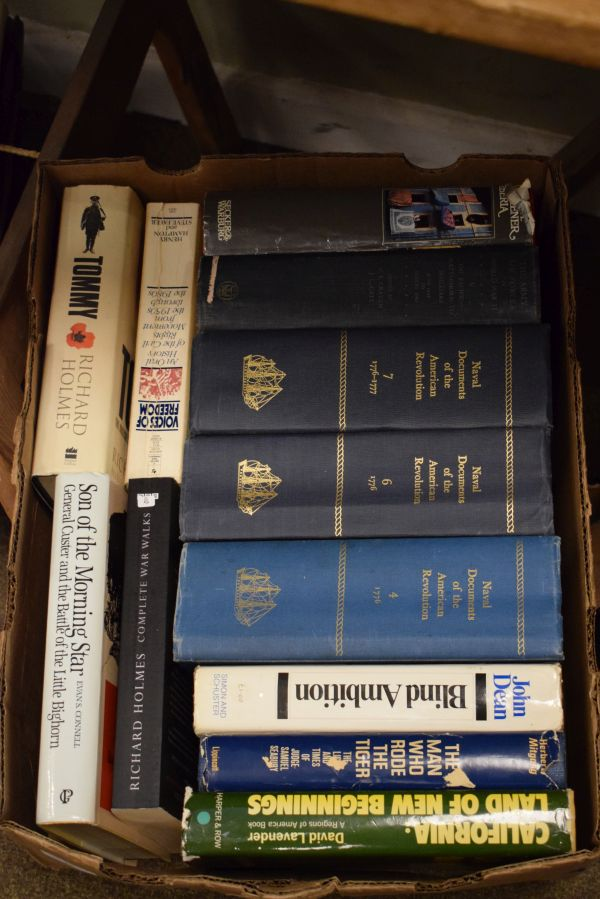 Lot 32 - Three boxes of assorted books to include; three vols Naval Documents of the American Revolution,