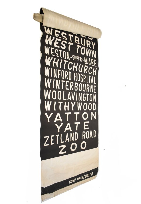 Lot 25 - Local Interest - Vintage bus destination blind with stops including Bristol, Weston super Mare etc