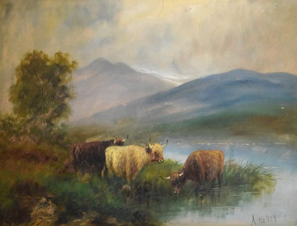 Lot 135 - A.Walley - Early 20th Century oil on board - Highland landscape with cattle, signed, 48cm x 70.
