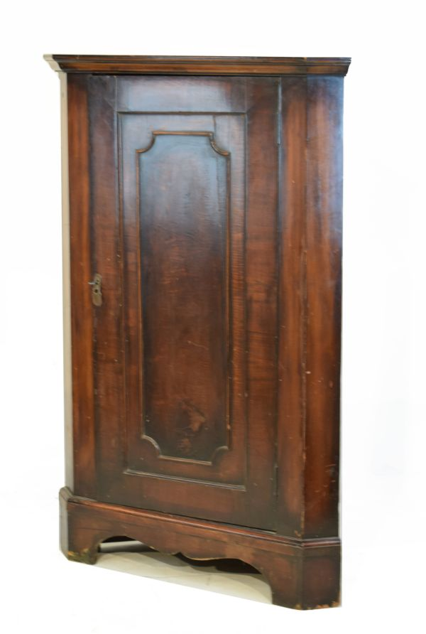 Lot 17 - Late 18th/early 19th Century mahogany floor standing corner cupboard with panelled door enclosing