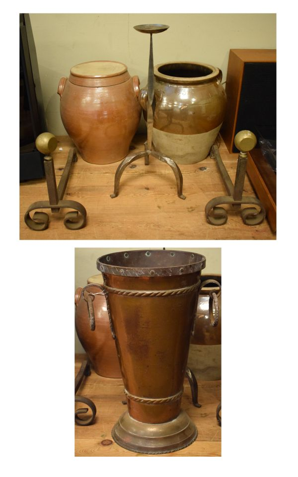Lot 30 - Assorted metal work and ceramics to include; a pair of brass and iron firedogs, pricket candlestick,