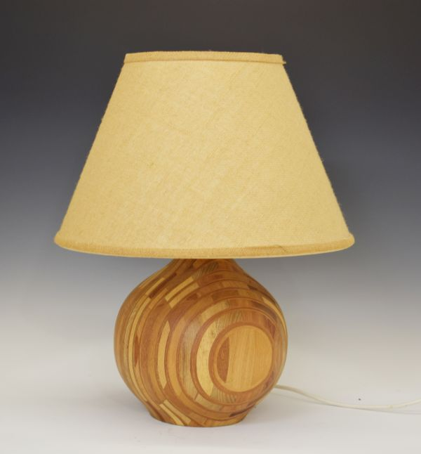 Lot 54 - Modern Design - 1960's era turned wooden lamp base formed of laminated sections in contrasting