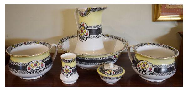 Lot 57 - Burleigh Ware six piece transfer printed pottery toilet set comprising: wash hand jug, basin, pair