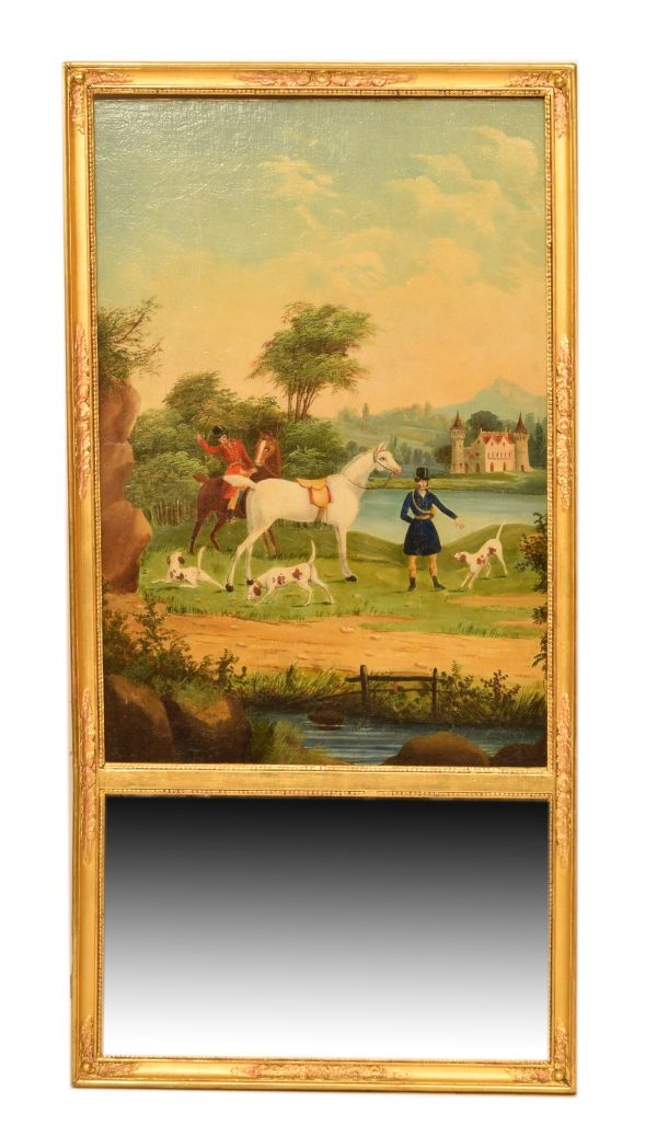 Lot 11 - Gilt-framed pier mirror having a large painted scene of a huntsman, attendant and dogs before a