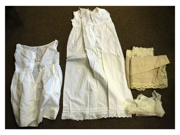 Lot 51 - Good selection of Victorian white linen and crochet edged garments and other items to include;