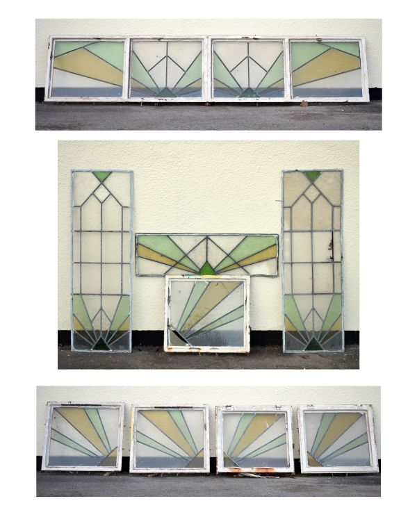 Lot 13 - Early to mid 20th Century Art Deco style stained and leaded glass door surround of nine assorted