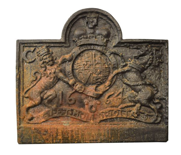 Lot 15 - Cast iron fireback after a 17th Century original having Royal Arms for Charles II and pseudo date