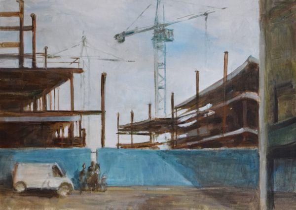 Lot 56 - Deborah Jones (20th Century) - Figures and vehicle outside a multi-storey car park with cranes