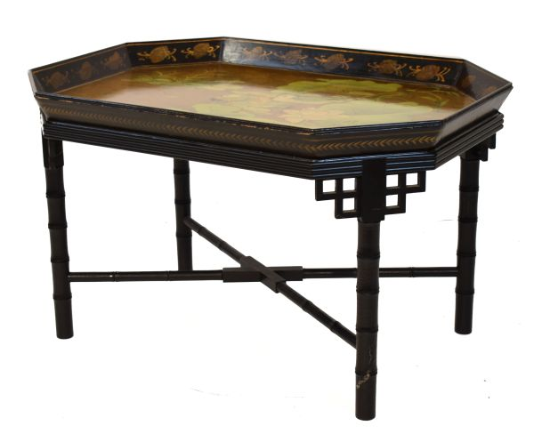 Lot 38 - 20th Century black-lacquered chinoiserie tray table of canted oblong form, decorated with Mandarin