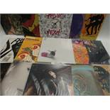 Box containing quantity of LP records to include Plastic Attack, Red Hot Chilli Peppers, Steve