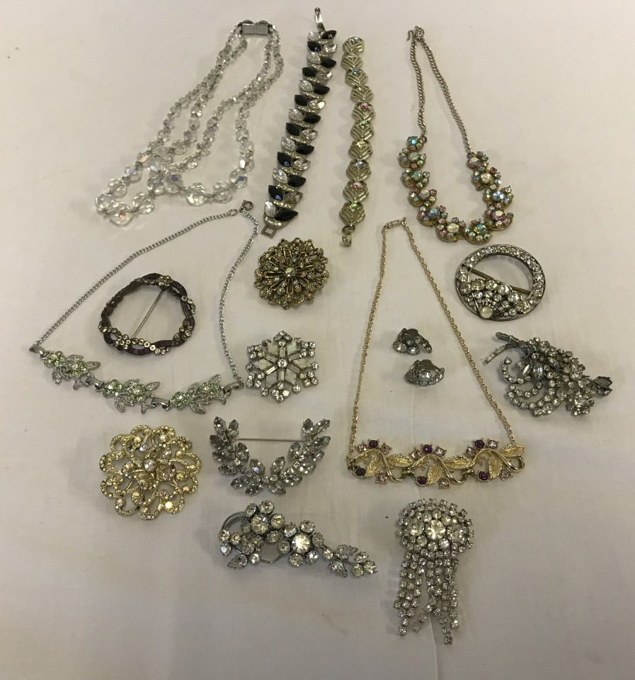 Lot 1008 - A collection of vintage diamante and aurora borealis costume jewellery.