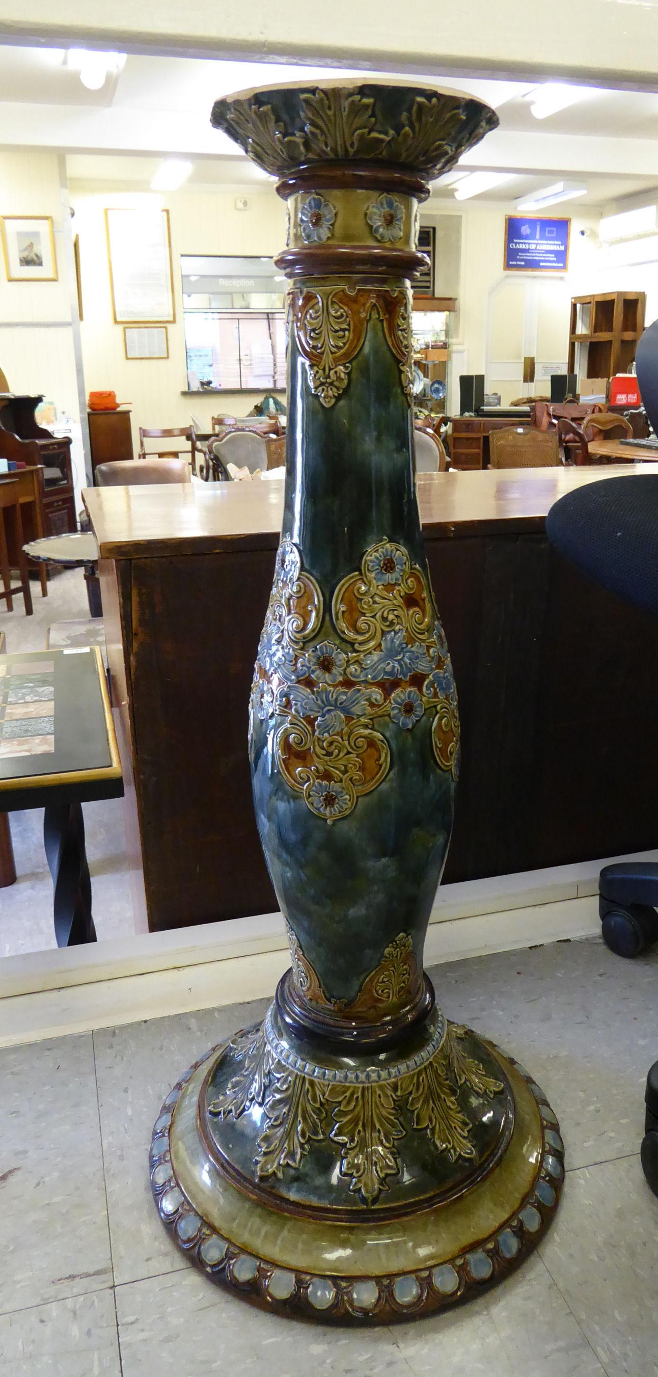 Lot 34 - An Art Nouveau period Royal Doulton stoneware jardiniere,