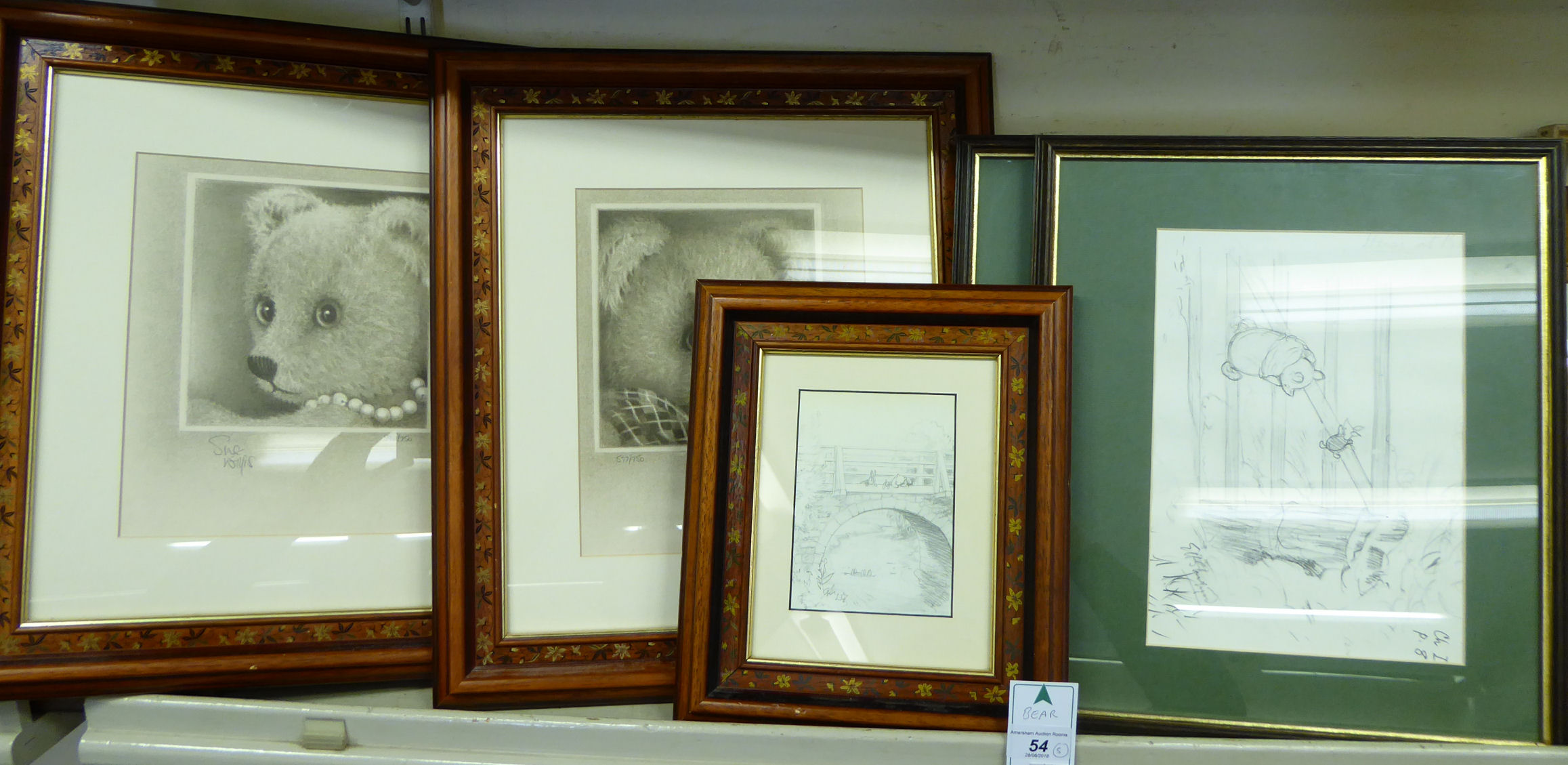 Lot 54 - Framed pictures: to include Sue Willis - a study of a bear Limited Edition monochrome print