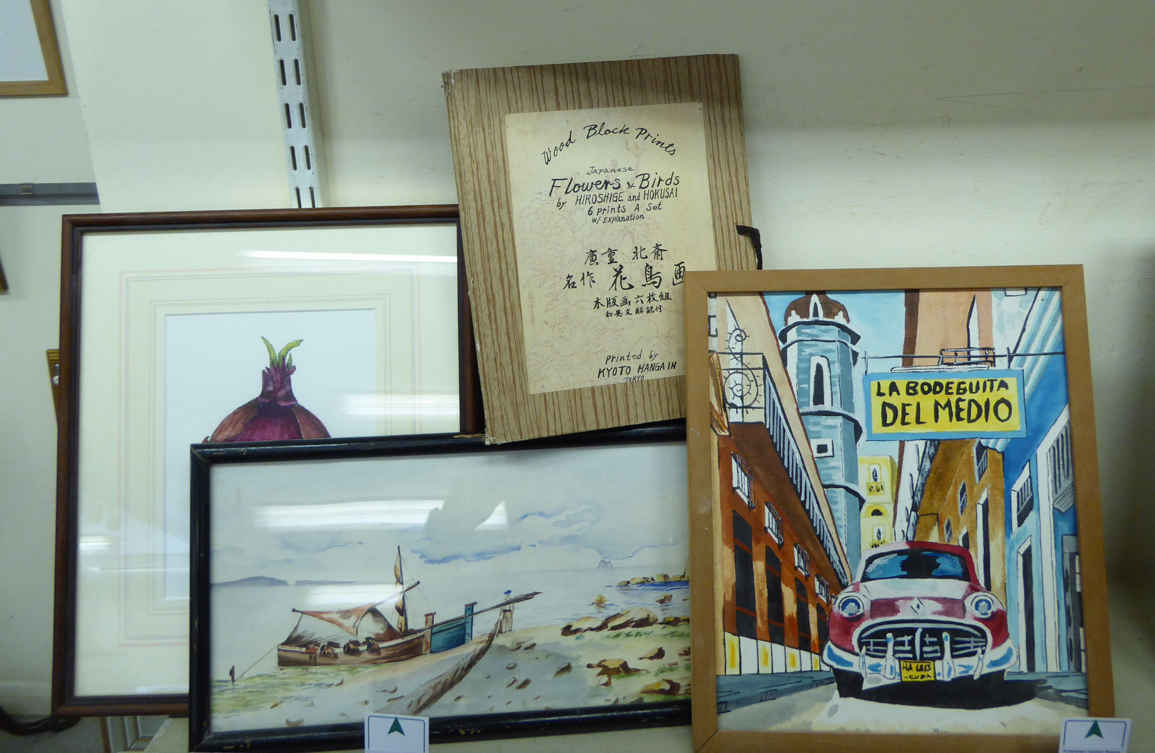 Lot 55 - Pictures and prints: to include two mid 20thC Japanese wood block prints,