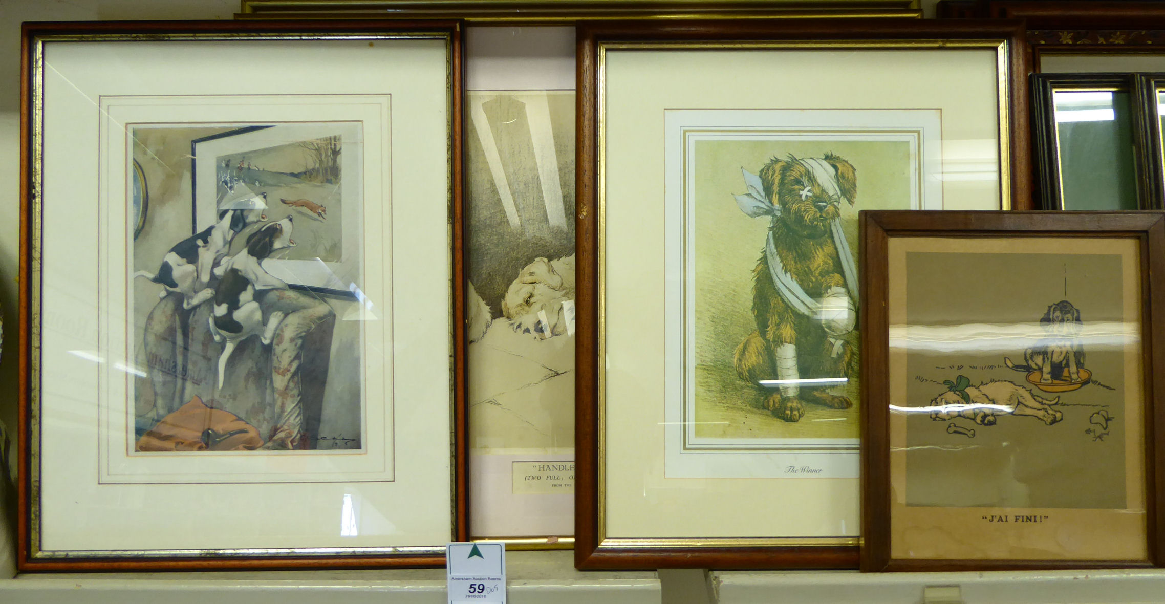 Lot 59 - Dog related pictures: to include Cecil Aldin - 'For what we have received' coloured print 11'' x