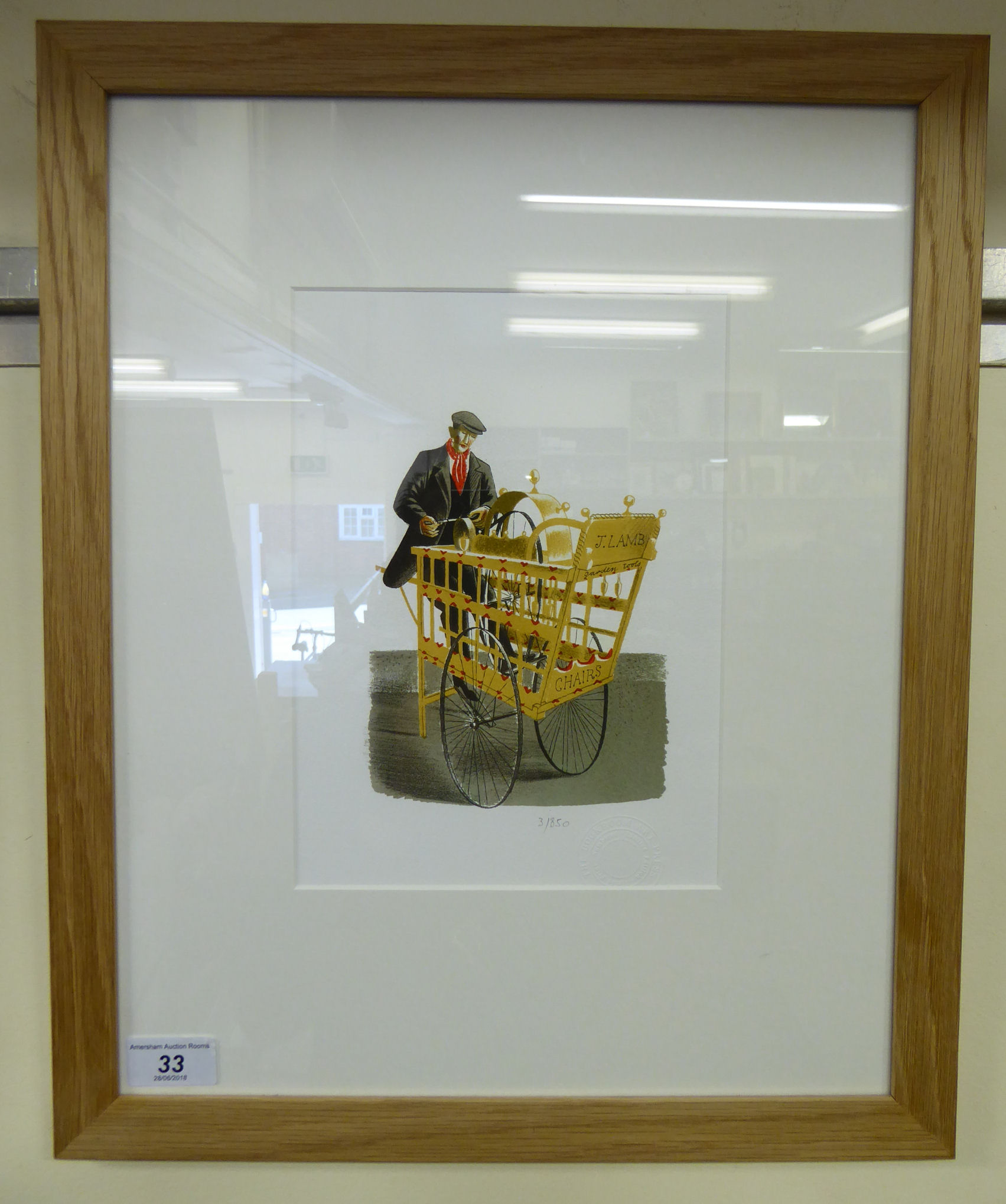 Lot 33 - Eric Ravilious - 'Garden tools and chairs' Limited Edition coloured print 3/850 bears a Bookroom