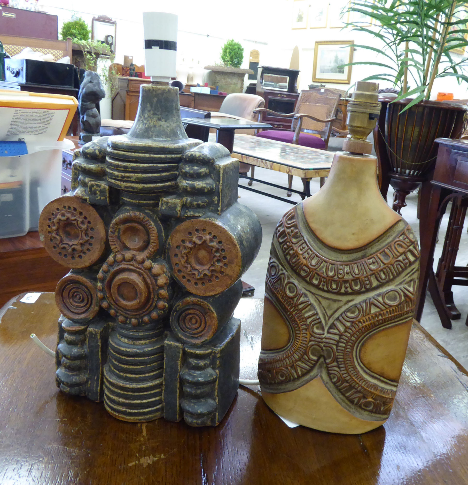 Lot 8 - A 1970s Cornish studio pottery table lamp,