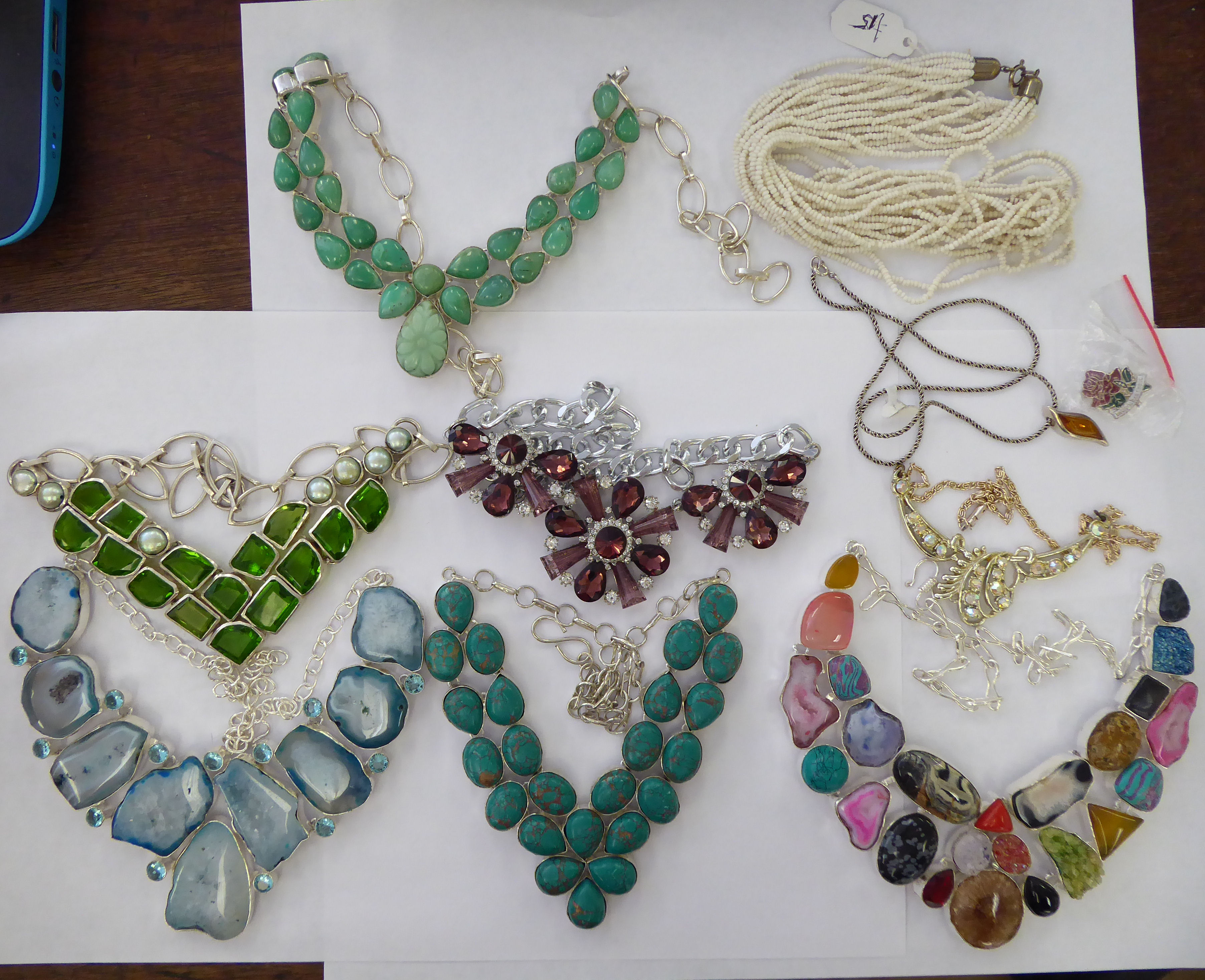 Lot 15 - White metal jewellery: to include necklaces,