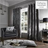 Catherine Lansfield Crushed Velvet Eyelet Curtains Silver, 66x90 Inch RRP £69.99