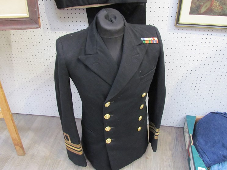 Lot 8026 - A WWII LT/CDR uniform with Kings Crown buttons and 1939-1945 Star, Atlantic Star, Africa Star,