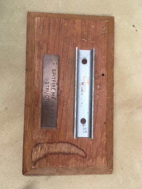 Lot 8030 - A Spitfire ML VB structure relic ,mounted on oak plaque,