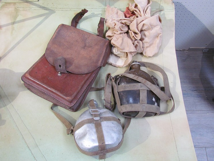Lot 8038 - A Japanese WWII style solider's flag with Japanese soldiers water bottle and map case etc (4)