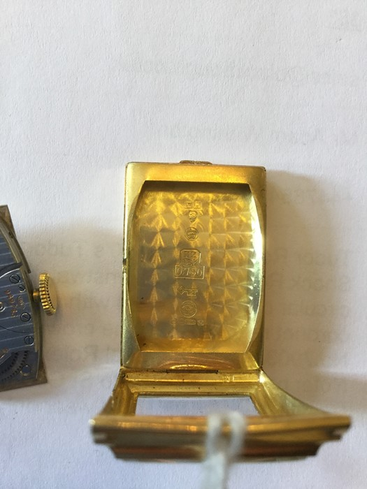 Lot 358 - International Watch Co - IWC, a 1930's 18ct gold Art Deco IWC wristwatch head, 2cm curved