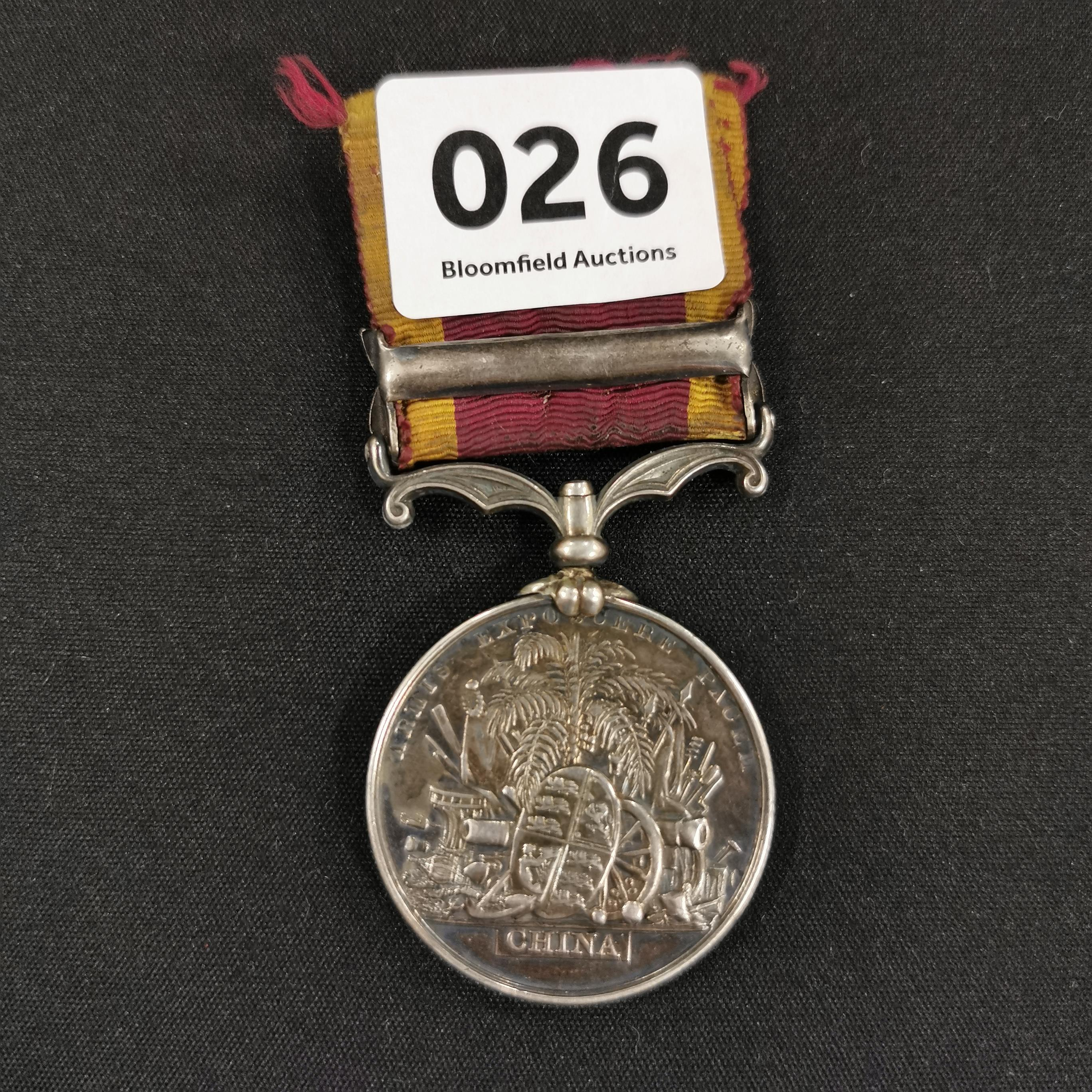 Lot 26 - 2ND CHINA WAR MEDAL OFFICIALLY IMPRESSED TO 44TH REGT (ESSEX REGT) - JOHN MEGAHEY 44TH REGT