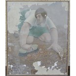 **Eric Holt (1944-1997) GIRL SCRUBBING A FLOOR Signed tempera on gesso and linen, dated 1974, 29 x