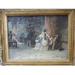 Follower of Edouard Manet LE VISITE MUSSEE GREVIN Oil on board, collectors' crest verso , 16.5 x