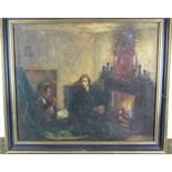 Follower of Walter Richard Sickert GENTLEMEN SEATED BESIDE A FIRE Oil on canvas, 52 x 62cm, also,