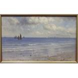 Gustave de Bréanski (1859-1899) A FISHING FLEET OFF A BEACH Signed oil on canvas, 24 x 39cm.