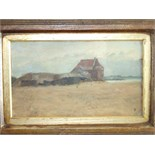 Arthur Lucas (b1842 - )FARM HOUSE AND POOL HARBOUR Signed oil on board, with monogram, 12 x 21cm and