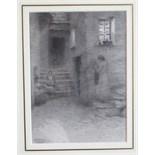 Herbert E Butler (1861-1931) DOORWAY, POLPERRO Signed pencil drawing, 19.5 x 14.3cm.