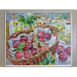 **Mary Martin (20th/21st century) BASKET OF QUEENIES AT THE SHOW Signed oil on hardboard, titled
