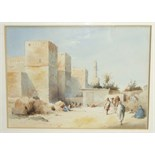 Style of David Roberts FIGURES AND CAMELS AT CANA Unsigned watercolour, 26 x 35cm and a companion,