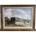William Henry Pike, (1846-1908) BOATS MOORED AT ORESTON, NR PLYMOUTH Unsigned oil on board,