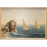 **Robin Davidson (20th/21st Century) THE 1987 FASTNET RACE, TWO AMERICAN BOATS PASSING PULPIT ROCK