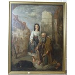 19th century English School THE BLIND BEGGAR WITH A GIRL AT HIS SIDE AND A DOG LYING BY HIS FEET
