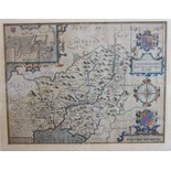 John Speed (1552-1629) 'Caermarden, both Shyre and Towne described', a hand-coloured map with plan