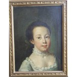 Follower of Philippe Mercier (1689-1760) HEAD AND SHOULDERS PORTRAIT OF A YOUNG GIRL WEARING A CREAM