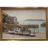 **Robin Davidson (20th/21st Century) MULLION COVE, CORNWALL Signed oil on canvas, inscribed verso,