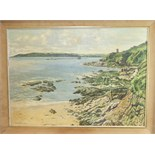 **W Lambert Bell (20th/21st Century) PLYMOUTH SOUND AND BREAKWATER FROM BOVISANDS Signed oil on