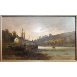 George Henry Jenkins (1843-1914) ON THE TAMAR Signed oil on board, dated 1879, 25 x 43cm.