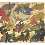 "**Doris Bradham Hatt ARWA (1890-1969) FESTIVAL Oil on board, titled and inscribed on labels verso """