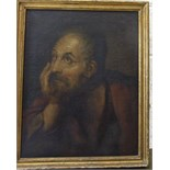 19th century Continental School BEARDED MAN RESTING HIS CHIN ON HIS HAND Unsigned oil on canvas,
