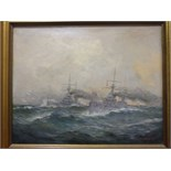J Callingham (late 19th/early 20th century) TWO DESTROYERS AT SEA Signed oil on canvas, dated